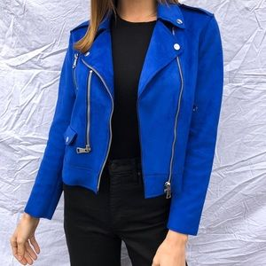 Blue Suede Jacket by MANGO